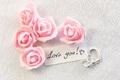 Картинка roses, pink, romantic, gift, I love you, сердечки, hearts, розовые розы