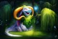 Картинка дракончик, лес, существо, фэнтези, by TehChan