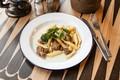 Картинка мясо, зелень, еда, макароны