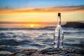 Картинка закат, послание, бутылка, море, письмо