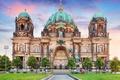 Картинка газон, Берлин, HDR, дворец, храм, купола, Германия, Berlin Cathedral, деревья, архитектура, тротуар