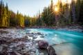 Картинка Природа, Озеро, Река, Лес, Камни, Канада, Камень, Лучи, Пейзаж