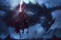 Картинка dark, fantasy, armor, eyes, wings, dragon, horse, artwork, warrior, fantasy art, Knight, spear, horn, spear ...