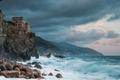 Картинка Gulf of Genoa, камни, Чинкве-Терре, Liguria, Лигурия, Cinque Terre, скала, Италия, Torre Aurora, Dawn Tower, ...