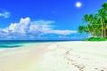 Картинка солнце, tropical, summer, sea, sand, море, песок, beach, пляж, palms, берег, island, paradise, пальмы