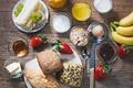 Картинка сыр, клубника, сок, виноград, ложка, нож, бананы, juice, выпечка, варенье, булочки, cheese, strawberries, buns