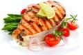 Картинка лимон, рыба, лук, лайм, томат, помидор, гриль