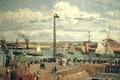 Картинка Камиль Писсарро, корабль, картина, Причал в Гавре Солнечным Днем. Прилив