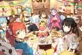 Картинка сладости, торт, животные, комната, чаепитие, люди, застолье, друзья