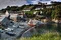 Картинка England, река, катер, boats, лодки, Cornwall, дома, берег, Англия, coast
