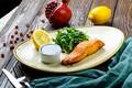 Картинка зелень, Лимон, Рыба, соус, гранат, семга