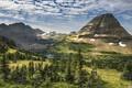Картинка небо, облака, деревья, горы, озеро, скалы, долина