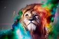 Картинка креатив, дым, лев, перья, арт, косы, огненные стрелы, Adam Spizak