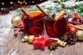 Картинка шарики, свеча, Новый Год, Рождество, wine, orange, merry christmas, punch, tea, decoration, глинтвейн