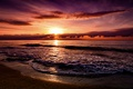 Картинка природа, закат, море
