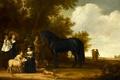 Картинка люди, масло, Групповой Портрет на Фоне Пейзажа, лошадь, картина, дерево
