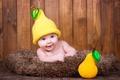 Картинка лежит, ребенок, малышка, шапочка, радость