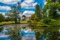 Картинка Англия, Облака, Пруд, Лето, Здание, Парк, Nature, Clouds, Архитектура, Park, England, Summer, Pond, Architecture