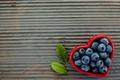 Картинка сердце, черника, миска, ягоды