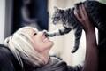 Картинка смех, блонди, девушка, улыбка, кошка