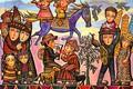 Картинка Севада Григорян, птицы, конь, гранат, люди, Я и люди вокруг