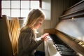 Картинка пианино, свет, девочка