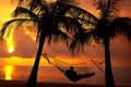 Картинка evening, Couple, relax, boy, mood, dusk, shadows, sea, clouds, shilouette, sky, hammock, trees, twilight, girl, ...