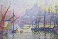 Картинка пейзаж, море, город, пуантилизм, Поль Синьяк, Марсель. Нотр-Дам-де-ла-Гард, корабль, картина