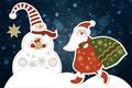 Картинка Зима, Минимализм, Снег, Рождество, Фон, Новый год, Санта, Праздник, Дед Мороз, Настроение, Снеговик, Мешок