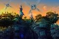 Картинка планета, скалы, деревья, moon drone, небо, башни