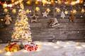 Картинка Рождество, елка, happy, украшения, снег, vintage, decoration, wood, Christmas, New Year, игрушки, Merry Christmas, Новый ...