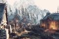Картинка горы, деревня, Ведьмак, The Witcher 3, Winter Getaway