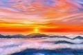 Картинка закат, облака, горы, by exobiology