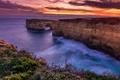 Картинка закат, скалы, небо, океан, Victoria, Австралия, море, побережье, Great Ocean Road, горизонт