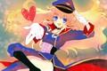 Картинка перчатки, голубые глаза, цветочки, сердечко, фуражка, длинные волосы, art, военная форма, Macross Frontier, Sheryl Nome, ...