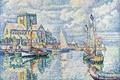 Картинка парус, морской пейзаж, дом, пуантилизм, Поль Синьяк, корабль, Барфлёр, картина