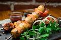 Картинка зелень, лук, мясо, шашлык, картофель