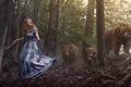 Картинка лес, медведи, девушка