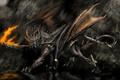 Картинка огонь, арт, крылья, рога, дракон