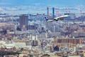 Картинка город, взлёт, пассажирский, самолет