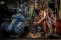 Картинка working, Woman, chains, sparks, wrench Sluice, grinder