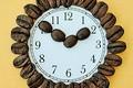 Картинка зерна, циферблат, кофе, стрелки, часы