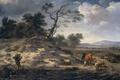 Картинка дерево, масло, картина, Пейзаж с Крупным Рогатым Скотом, Ян Вейнантс