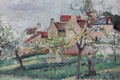 Картинка пейзаж, дом, картина, сад, Камиль Писсарро, Цветущие Сливы. Понтуаз