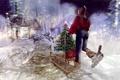 Картинка девушка, снеговик, ёлка, санки