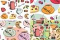 Картинка вектор арт, фон, посуда, десерт, текстура
