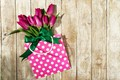 Картинка цветы, сумочка, тюльпаны, букет