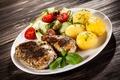 Картинка Мясные Продукты, Картофель, Тарелка, Овощи, Еда