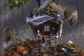 Картинка белки, осень, избушка, Хеллоуин, тыква, листья, птичка, скелетики