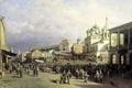 Картинка Рынок в Нижнем Новгороде, Пётр ВЕРЕЩАГИН, люди, 1872, масло, Холст, храм